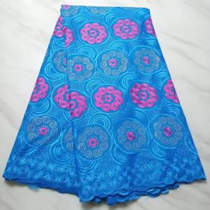 5 Metros Maravilhoso céu azul tecido de algodão africano e rhinestone flor fúcsia se dignar swiss voile rendas bordado para o vestido BC49-8
