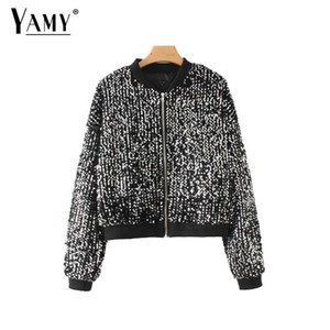 2018 Moda argento metallo paillettes giacca donna Streetwear vestiti punk rock paillettes bomber giacca cappotto invernale donne Outwear