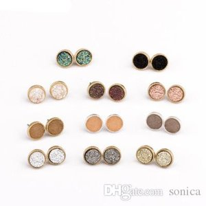 Pretty Cute Druzy Crystal Round Stud Earrings Set for Women Girl Fashion Delicate Pierced Jewelry