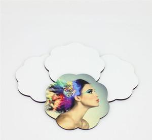 Posavasos de sublimación para regalo personalizado posavasos de madera mdf para tinte sublimación forma de flor impresión por transferencia de corazón consumibles en blanco