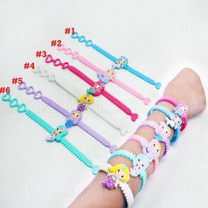 Bracciale bambini Mermaid PVC 6 colori svegli Wristband braccialetto di compleanno di favore di partito ragazze gioielli 600pcs LJJO-6989