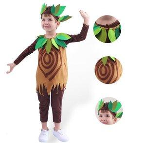 Crianças Árvore traje Meninos Meninas Halloween Natal verde folhas de plantas Cosplay Costumes Crianças Stage Drama desempenho mostram Props