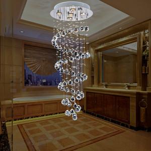 현대 로프트 계단 크리스탈 Led 조명 현대 크리스탈 교수형 램프 호텔 빌라 복도 거실 펜 던 트 조명