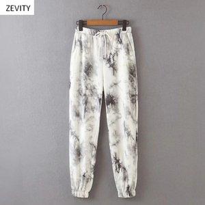 Zevity New Mulheres empate tinta do vintage tingido pintura calças de jogging chique feminino elástica casuais cintura pantalones mujer arco calças P824 CX200805