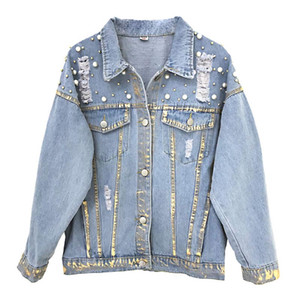 Fashion Denim Jacket 2018 New Spring Women Handmade Luxury Pearls Single Breasted Casual Jeans Coat Outwear Chaqueta Mujer