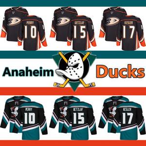 Anaheim Ducks dos homens camisa 10 Corey Perry 17 Ryan Kesler 15 Ryan Getzlaf baratos bordado Logos Hockey Jerseys