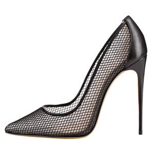 Escarpins de femme sapatos 12CM extremas saltos altos fetiche sexy casamento sapatos de noiva malha bombas mulher pista