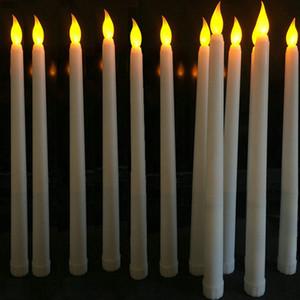 30 piezas 11 LED de batería pulgadas operados parpadeo 28cm lámpara sin llama de Marfil conicidad palillo de la vela tabla de vela de la boda (H) -Amber T200108