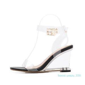 DiJiGirls yeni bayan sandalet bayanlar yüksek topuklu ayakkabılar kadın Crystal Clear Şeffaf gündelik takozları ayakkabı B35 pompalar gladyatör