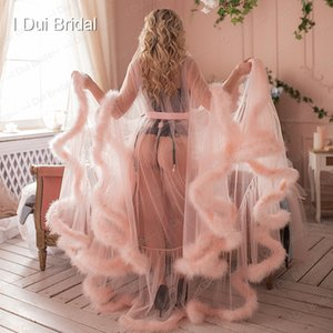 Bridal Boudoir Robe Rosa Feather Bridal Sheer Robe Tulle Illusione Lungo compleanno Feather Robe Capodanno