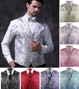 (Gilet + farfallino + Pocket Square) Suit da uomo Tuxedo Uomo Floral Floral Floral Luxury Matrimonio Personalizzato Set di gilet Set Stage Gilet