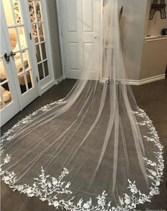 3M Long Veil Lace Appliqued Cathedral Length Appliqued White Ivory Wedding Veil Bride Veils Bridal Hair With Free Comb New Arrival
