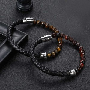 Pulsante cuoio dell'acciaio inossidabile Black Leather Style Special Classic E in rilievo Combinazione cucitura degli uomini braccialetto per ragazzi