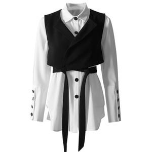ASYMSAY 화이트 셔츠 + 블랙 조끼 두 조각 세트 짧은 소매 패션 셔츠 짧은 조끼 여자 셔츠 세트 AL1320 레이스 업