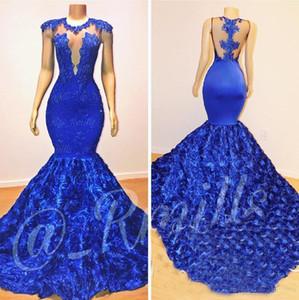 Royal Blue Mermaid Gelinlik 2019 Gül Çiçek Uzun Şapel Tren Şeffaf Boyun Boncuk 2K18 Afrika Pageant Parti Elbise Abiye uygular