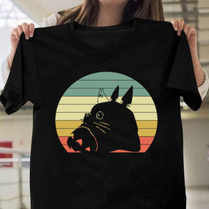 100% Cotton T Shirt Men Ghibli Totoro Funny T Shirts Anime Shirt Femme Homme Ullzang Streetwear Clothes Tees Top Boyfriend Gift