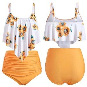 Bikini de traje de baño con estampado de flores de sol Mujeres tallas grandes Trajes de baño amarillos de dos piezas Top con volantes con ropa de playa de cintura alta