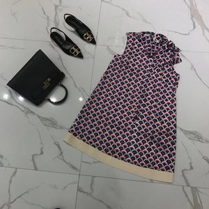 Milan Runway Dress 2019 New Red Letter Stampa Bow Breve Abito donna abito senza maniche Designer Tank 98920