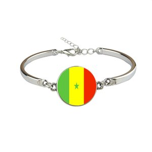 Senegal National Flag World Cup Football Fan Time Gem Glass Cabochon Bracelets & Bangles for Women Men Link Chain Link Jewelry Fashion Gifts