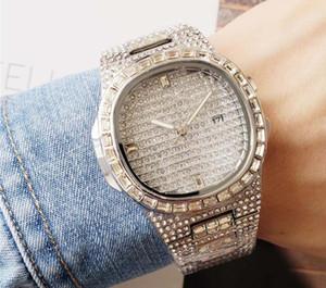 señoras hombres cuadrados flor completa diamante oro reloj rhinestone mujeres suizo diseñador automático relojes pulsera reloj