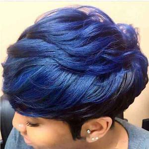 ارتفع أوروبا وأمريكا شعر مستعار الإناث الشعر القصير شعر مستعار أزرق صاف وارتفاع درجة الحرارة الألياف الكيماوية الحرير غطاء محرك السيارة