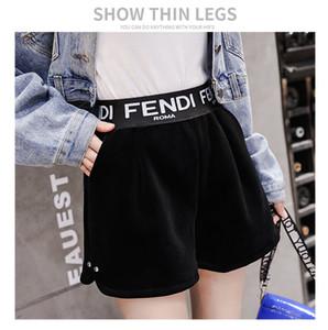 pantalones cortos de corte de terciopelo carta de cintura alta huella de una bota de tejido elástico en la cintura 2019 nueva manera del otoño de las mujeres más el tamaño de los pantalones pantalones