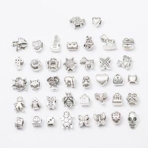 40 estilos agujero grande granos flojos de la manera encanta la plata del cráneo del metal europeo cuentas cuadradas para hacer collares de las pulseras de la joyería al por mayor de