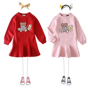 Kinder Frühling Förderung Neue Mädchen Kleider Mädchen Langarm Rüschen Kleid Baby Pullover Brief Hoodies Kinder Designer Kleidung Mädchen