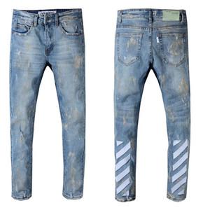 Designer Mens Distressed Ripped Biker Jeans Größe 29 ~ 42 Slim Fit Motorrad Biker Denim für Männer Markendesigner Hip Hop Mens Jeans # 141