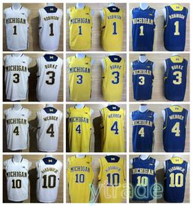كلية ميشيغان Wolverines كرة السلة الفانيلة تيم Hardaway JR 1 Glenn Robinson III 3 Trey Burke Chirs Webber 41 Glen Rice Mens Shorts