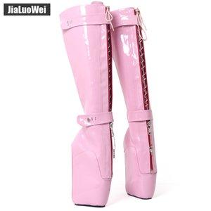 """jialuowei 7"""" Aşırı Yüksek Topuk Wedge Heelless Sole Seksi Fetiş Kilitlenebilir YKK Fermuar Diz-Yüksek Asma Bale Boots ücretsiz nakliye"""