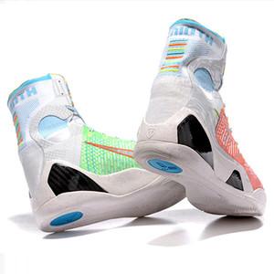 Hot Mamba Jour 9 IX Elite Black Mamba Blackout Noël Enfants High Top Chaussures de sport en plein air Formation Sneakers