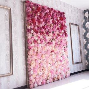 pared de la flor artificial 62 * 42cm rosa hortensia fondo de la flor accesorios de decoración de la boda flores de la boda del partido del hogar T200103