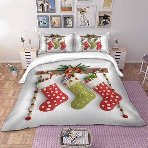 3D Bas de Noël Ensemble de literie couette Enfants de Noël Couverture Pillowcases double pleine Reine King Size cadeau de linge de lit pour enfants