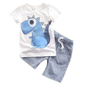 2 Pcs Clothes Set Baby Boy Girl Dinosaur Character Short Sleeve Top + Striped Shorts Outfits Children Summer