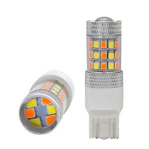 SKYJOYCE автомобиля светодиодные лампы T20 7443 2835 42SMD 12V водить автомобиль лампы белый / желтый янтарный двойной цвет Нет Hyper вспышки Auto Turn Signal Lamp
