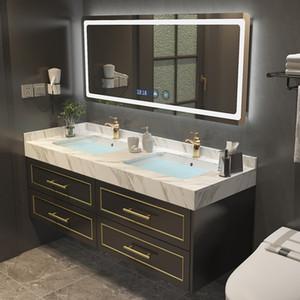 Nordic solid wood bathroom LED light mirror cabinet combination wash basin vanity bathroom smart bathroom furniturer