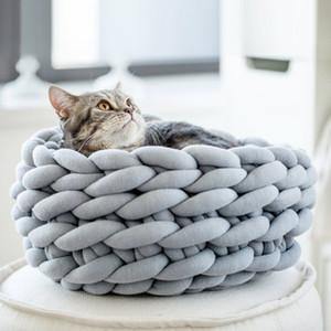 30/35 / 40cm fai da te tessuti a mano lana grezza nido di gatto lettiera inverno accogliente casa del cane caldo uncinetto grosso cuccia a maglia mat pet forniture