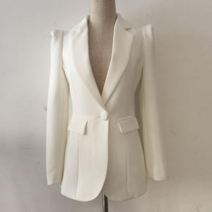 slimming párrafo largo encogimiento de hombros un botón Escudo chaqueta blanca de alta gama de lujo del otoño de las mujeres de la moda de marca