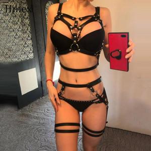 Cinture di pelle HMEX Harness Underwear Set Goth Reggicalze donne spalline del reggiseno sexy della giarrettiera del corpo della vita Per Leg Bondage Cage