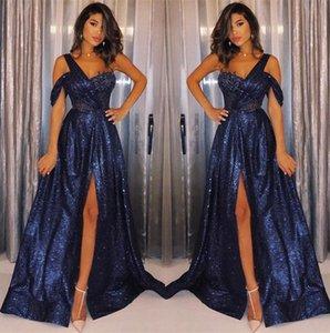Azul marino, lentejuelas de un hombro, una línea, vestidos de noche largos, 2019, fruncido, longitud del piso, partido formal, vestidos de fiesta BC1111