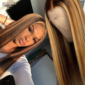 Ishow Highlight P4 27 Straight 13x4x1 lace human hair wigs 1b 30 Omber Straight 360 human hair lace front wigs Pre-Plucked