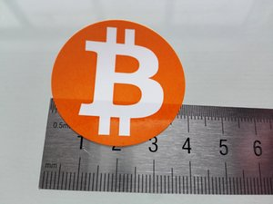 6000pcs 40mm diameter bitcoin logo label sticker, orange color printing on gloss paper, Item No.FS18