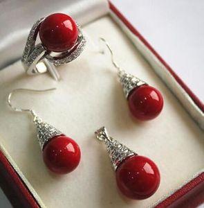 Adel glücklichen Frauen natürliche Set 12mm rote Muschel Perle Anhänger Halskette Ohrringe Ring Set Silber Haken