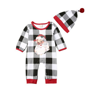حار بيع الرضع 0-18M طفل رضيع فتاة عيد الميلاد رومبير ملابس الأطفال مجموعات سانتا كلوز منقوش رومبير بذلة هات الزي