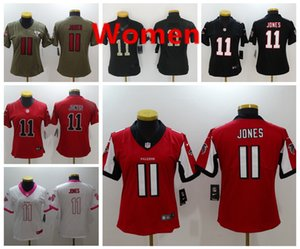 Womens AtlantaFalcons Jones 11 Julio Jonesnfl Vintage Jersey White Black Red Color Rush Football Jerseys