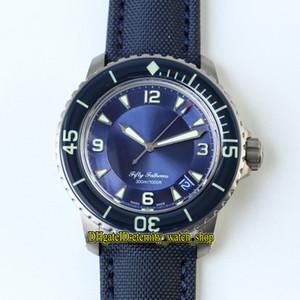 ZF Top versão Fifty Fathoms 5015-12B40-O52A Titanium Caixa azul Data Dial Cal.1315 Automatic Mens Watch Sapphire Canvas Strap Esporte Relógios