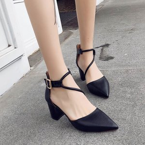 Thick heel women's fashion shoes 2020 summer new high-heeled sandals female pointed rivets fashion women's shoes