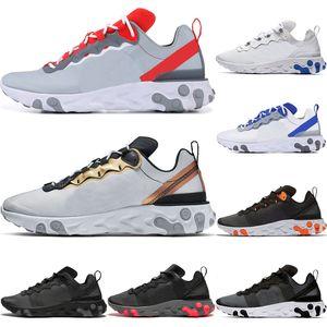 Hot React Element 55 Men Women Undercover X Running Shoes - أحذية رياضية رمادية اللون أحمر ذهبي لامع ، أحذية رياضية ثلاثية الحذاء الملكي باللون الأسود
