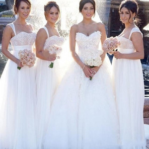 2020 Lace A Line Bridesmaid Dresses Sweetheart Spaghetti Straps Long Wedding Guest Brides Prom Dress Plus Size Party Gowns